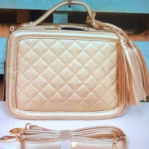 Gold Quilted Box Satchel